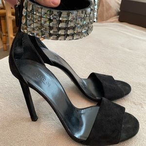 Rhinestone strap suede Gucci heels